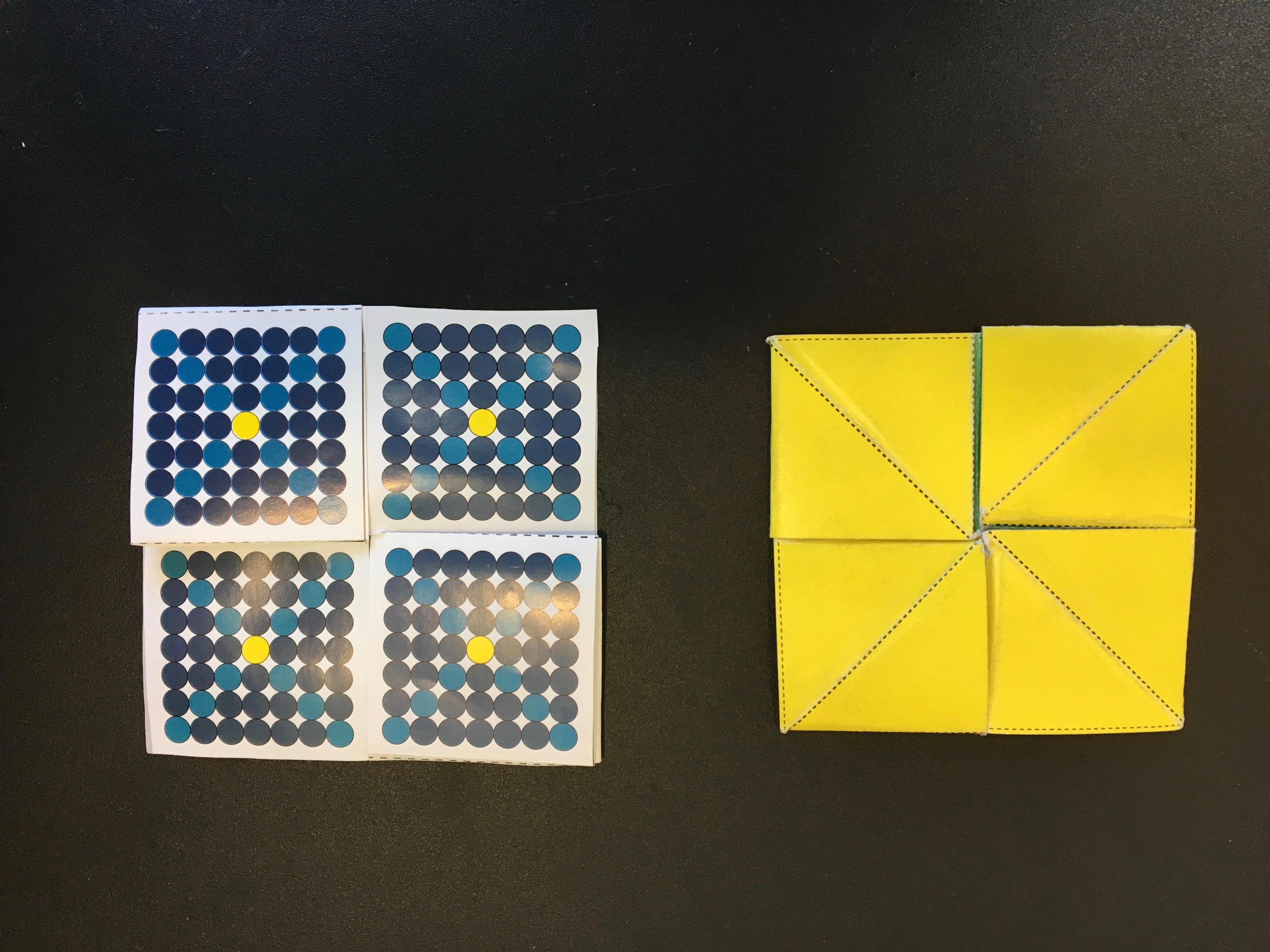 Left: Tetra-tetra-flexagon, Right: Octa-tetra-flexagon