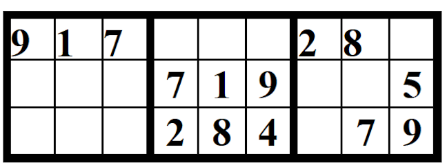 Example of part of the solution to a section of Sudoku